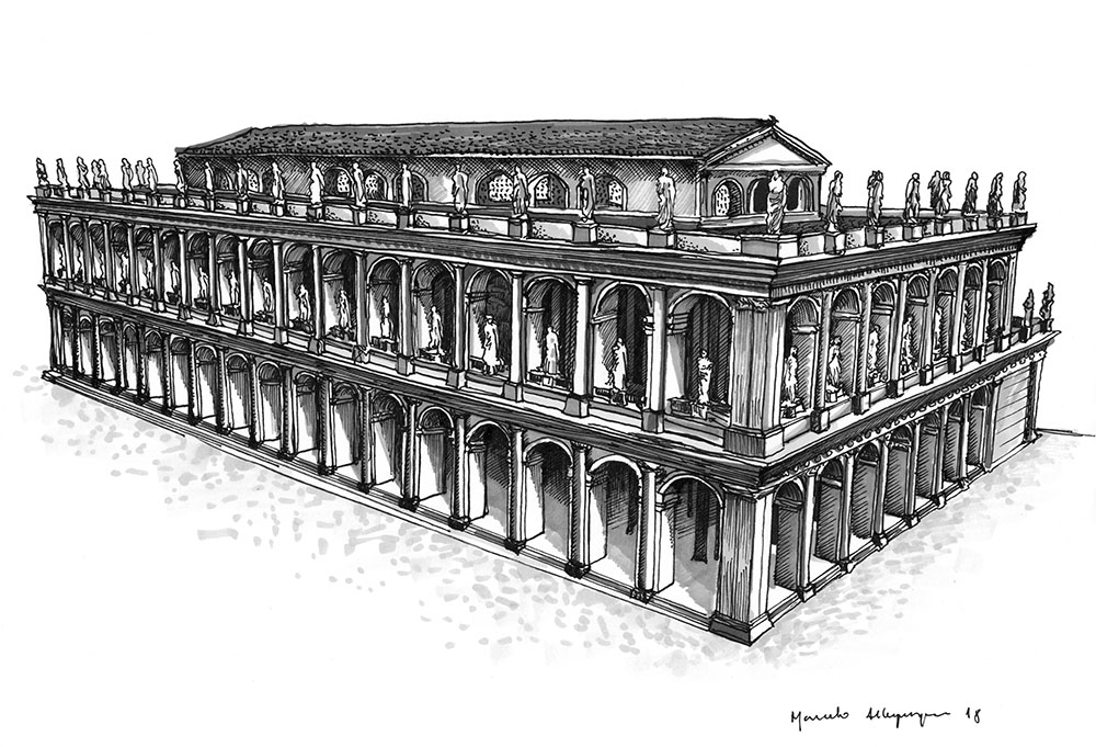 2018 - Basilica Julia - nanquim e caneta marcador 21 x 29 cm